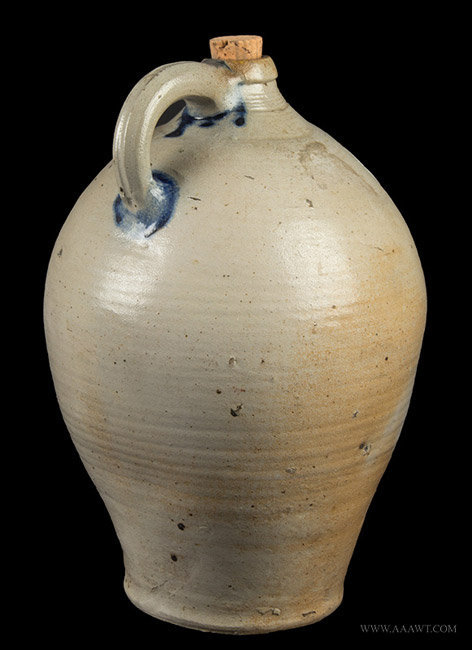 Antique Ovoid Stoneware Jug with Cobalt Decoration, Early 19th Century, rear angle view