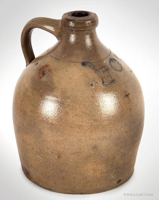 Antique Stoneware Apothecary Jug, New York, Circa 1845, angle view