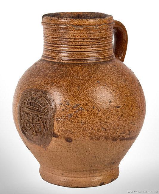 Antique Brown Salt Glazed Stoneware Krug/Mug with Applied Medallion, angle view 1