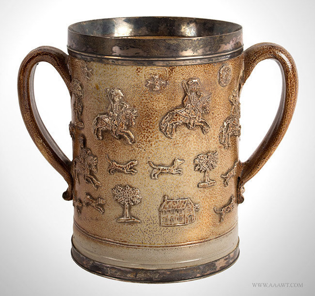 Antique Bristol Salt Glazed Two Handled Silver Mounted Hunting Mug, 18th Century, entire view 1