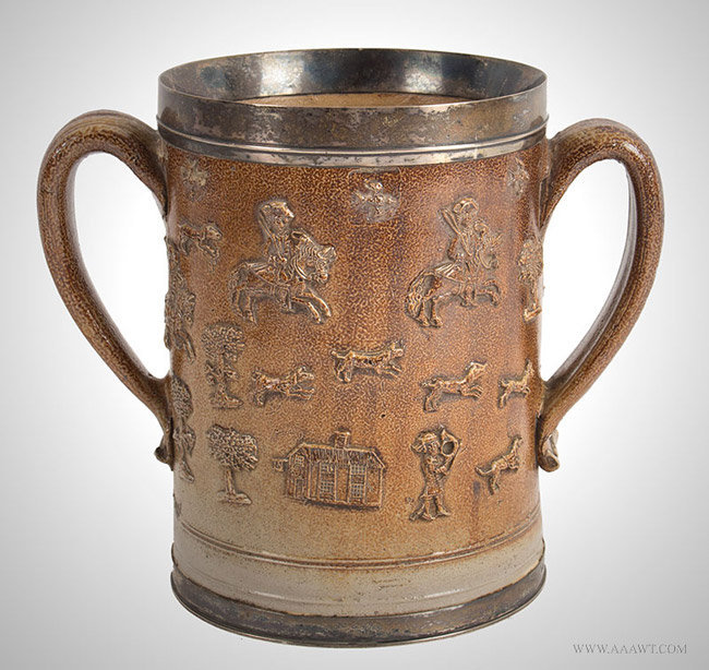Antique Bristol Salt Glazed Two Handled Silver Mounted Hunting Mug, 18th Century, entire view 2