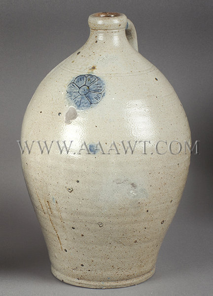 Stoneware Jug, Ovoid, Tooled Strap Handle, Incised Shoulder    Impressed Flower Brushed in Cobalt    Anonymous    19th Century, entire view