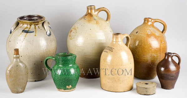 Stoneware Jugs, Jars, Pitcher, Flask    Sold separately, entire view