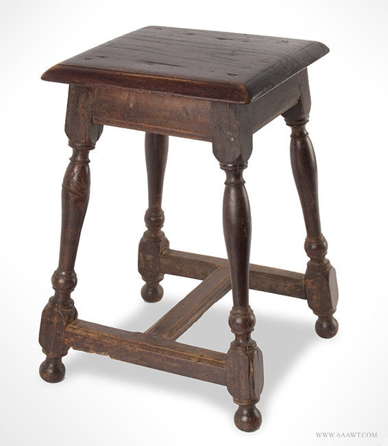 Antique William and Mary Join Stool in Unusal Small Size, 18th Century, angle view