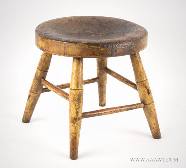 Windsor Foot Stool in Original Yellow Paint, Early 19th Century, angle view