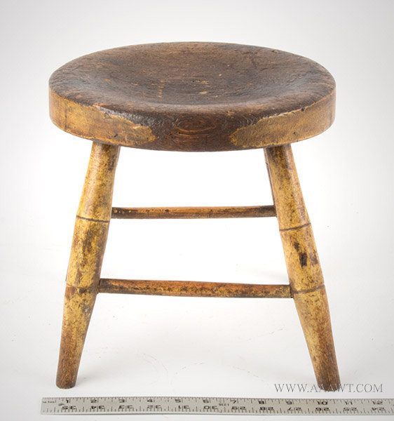 Windsor Foot Stool in Original Yellow Paint, Early 19th Century, with ruler for scale