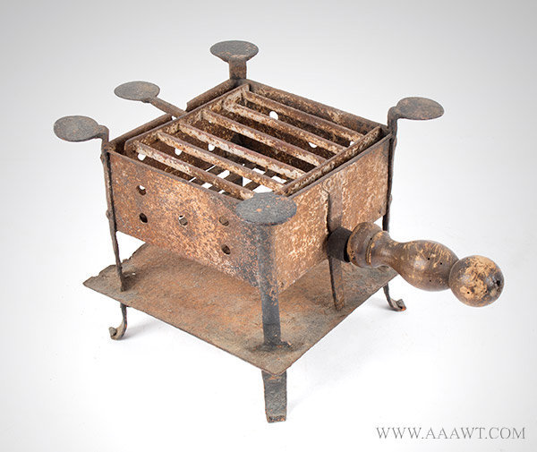 Brazier, Camp Stove, Wrought and Sheet Iron, Hinged Grill and Penny Supports
