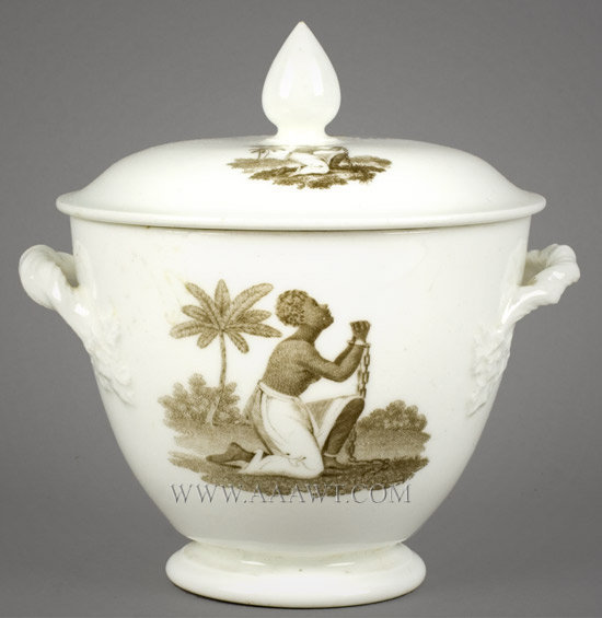Abolition Sugar Bowl, Kneeling Slave, Am I Not A Man? England Circa 1820 to 1830, entire view