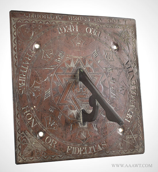 Sundial, Masonic, Royal Arch, Moonface, Sunface, I TOO AM UNDER ATHORITY BRONZE, Latin Engraving, Masonic Symbols, Royal Arch within Seal of Solomon 18th or Early 19th Century, entire view