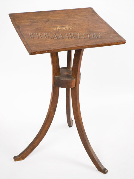 Candlestand, Hockey Stick Legs, Inlayed, Original Surface Connecticut River Valley, Probably Springfield Circa 1810, entire view