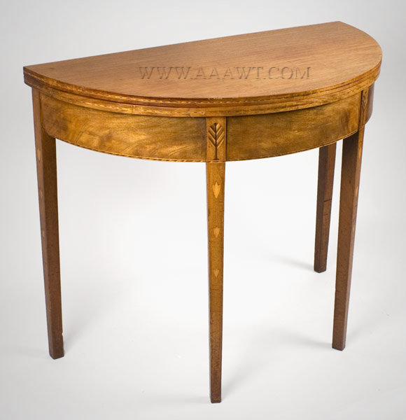 Federal Card Table, Demi Lune Probably New Hampshire Circa 1800, angle view