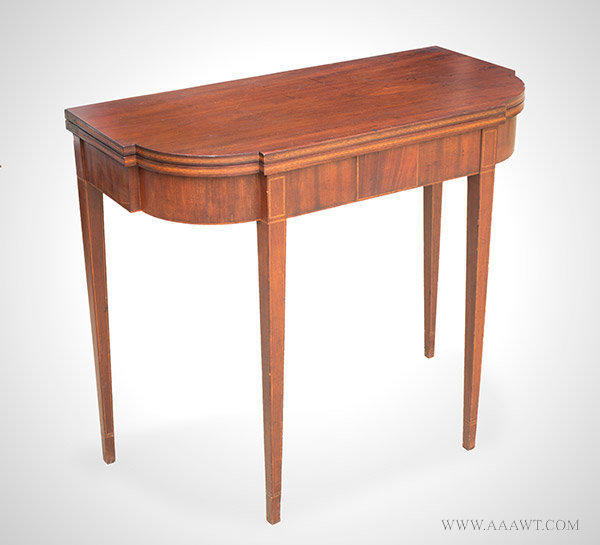 Card Table, Games table, Shaped Top, Ovolo Corners, Square Tapered Legs Likely Southeastern Massachusetts or Rhode Island, Circa 1790, entire view
