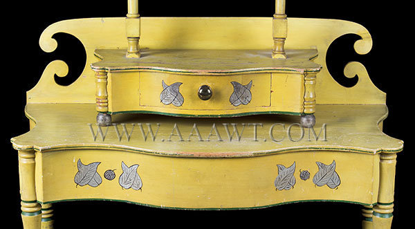 Antique Dressing Table with Mirror in Original Chrome Yellow Paint, Circa 1820, drawer detail