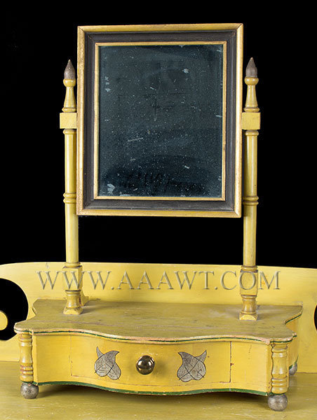 Antique Dressing Table with Mirror in Original Chrome Yellow Paint, Circa 1820, mirror detail
