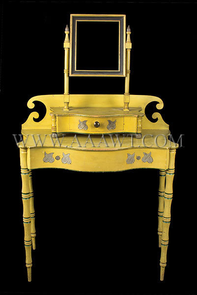 Antique Dressing Table with Mirror in Original Chrome Yellow Paint, Circa 1820, entire view
