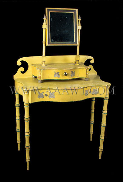 Antique Dressing Table with Mirror in Original Chrome Yellow Paint, Circa 1820, angle view