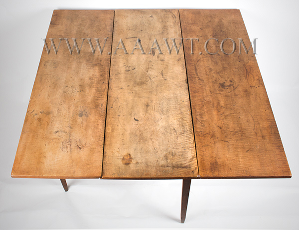 Table, Hepplewhite Drop Leaf, Figured Maple in Original Surface New England, Circa 1790, top view