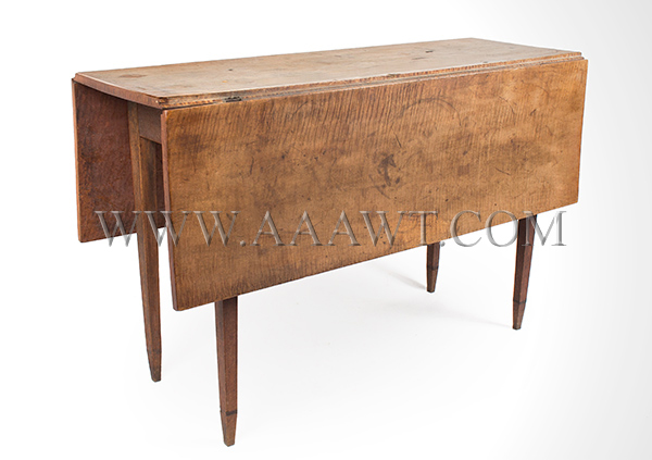 Table, Hepplewhite Drop Leaf, Figured Maple in Original Surface New England, Circa 1790, angle view
