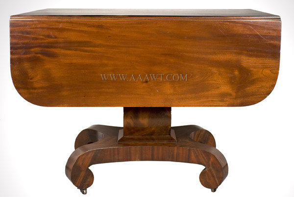 Classical Mahogany Drop Leaf Pedestal Table America Circa 1840 to 1850, entire view 1