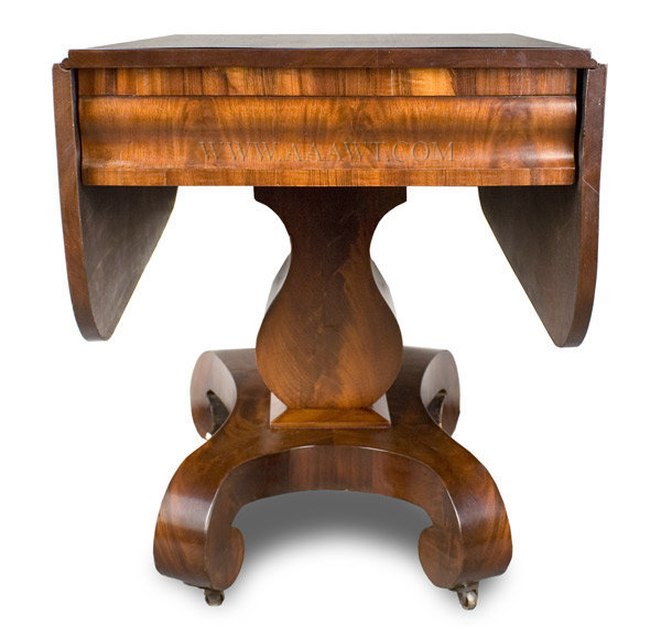 Classical Mahogany Drop Leaf Pedestal Table America Circa 1840 to 1850, entire view 2