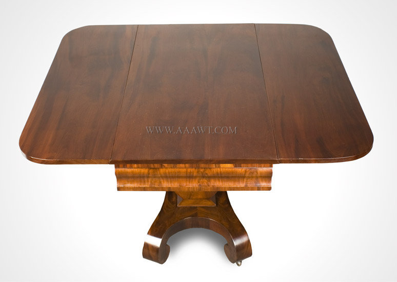 Classical Mahogany Drop Leaf Pedestal Table America Circa 1840 to 1850, angle view