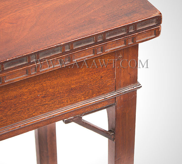 Table, Games Table, Chippendale, Folding Top, Carved Ponds, Hidden Drawer Probably Rhode Island, Circa 1770, corner detail 1