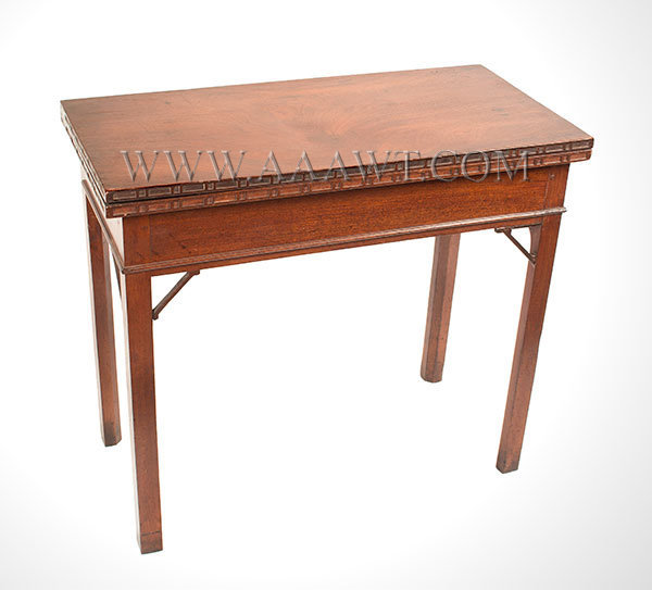 Table, Games Table, Chippendale, Folding Top, Carved Ponds, Hidden Drawer Probably Rhode Island, Circa 1770, angle view