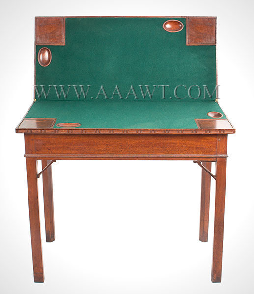 Table, Games Table, Chippendale, Folding Top, Carved Ponds, Hidden Drawer Probably Rhode Island, Circa 1770, open view