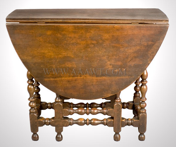 Table, Gate Leg, Small Size, Outstanding Turnings, Old Surface New England Early 18th Century, entire view