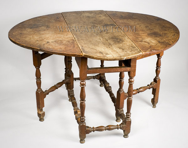 Gate Leg Table, William and Mary, Original Red Paint, Great Surface Probably Eastern Connecticut Circa 1730, entire view