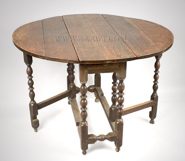 Gate Leg Table with Drawer, William and Mary, Original Surface Early 18th Century England, entire view