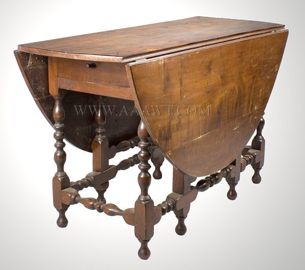 Gate Leg Table with Drawer, William and Mary Probably Massachusetts Circa 1725, entire view