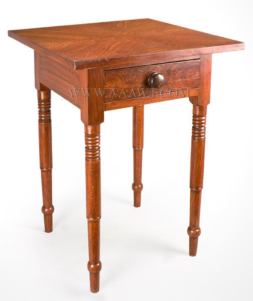 A Nearly Square Oversized Top On Plain Apron With Single Drawer Raised On  Block And Turned Legs. Fantastic Fancy Grain Painting; The Top Grained To  ...
