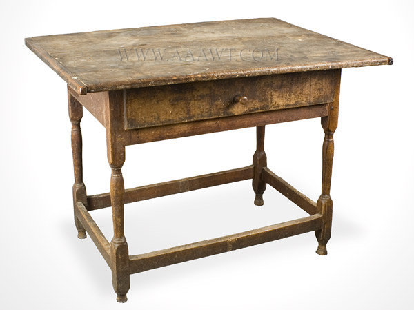 Tavern Table, Original Condition, Great Patina New England 18th Century, angle view