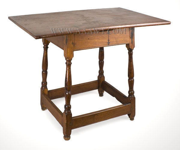 Tavern Table, Rectangular Top, Splay Leg New England 18th Century, angle view