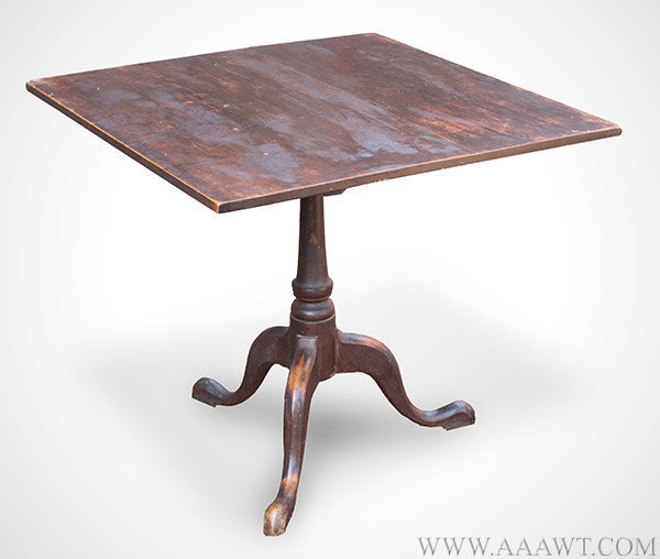 Tea Table, Square Tip Top, Turned Pedestal, Tripod Base, Original Surface  New England, 18th Century Maple, Fine State Of Preservation