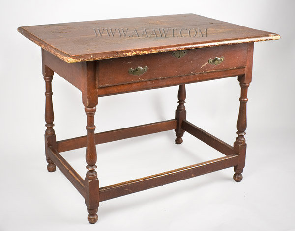 Tavern Table with Drawer, Original Surface History, Exceptional turnings Boston or South Shore, Massachusetts Circa 1740 to 1760, angle view