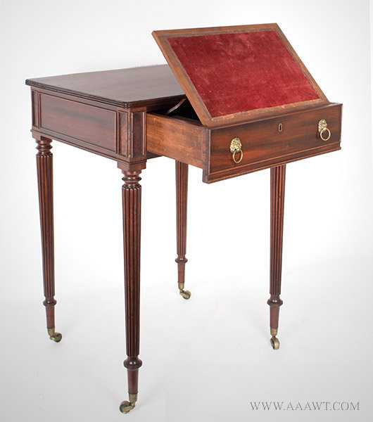 Table, Work Table, Regency, Thomas Seymour, Fitted Drawer, Bead Moldings Boston, Circa 1814, entire view