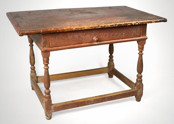 Table, Work Table, Original Red Painted Surface New England Circa 1730, entire view