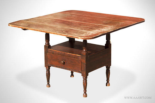 Antique Chair Table in Original Paint, Maine, Circa 1800 to 1820, angle view
