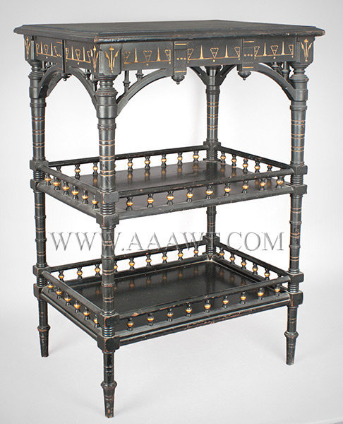 Table, Aesthetic Movement, East Lake Inspired, Ebonized Incise Carved and Gilt Unknown Maker Circa 1875, entire view
