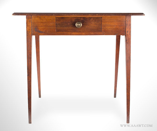 Hepplewhite Table, Federal, Molded Top, Double Splayed Tapered Legs New England, Circa 1790, entire view