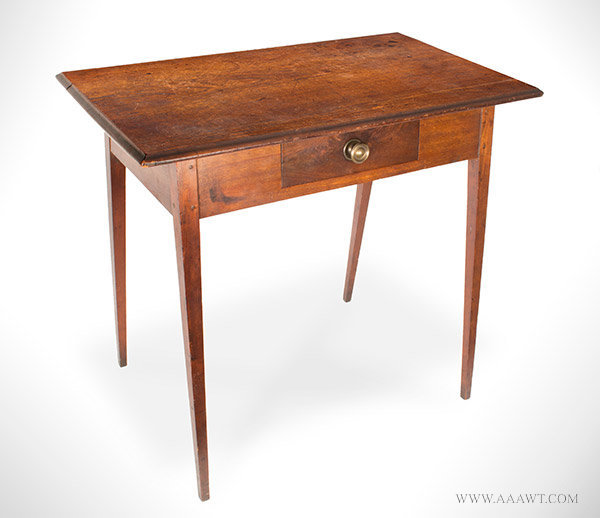 Hepplewhite Table, Federal, Molded Top, Double Splayed Tapered Legs New England, Circa 1790, angle view