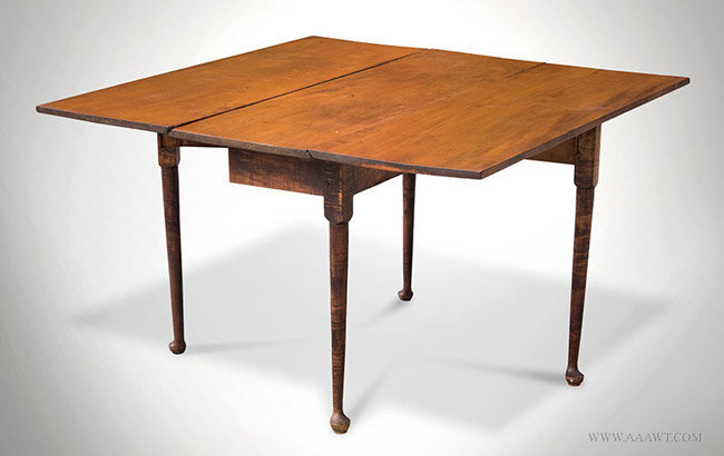 Antique Queen Anne Figured Maple Drop Leaf Table with Original Pins, 18th Century, open angle view