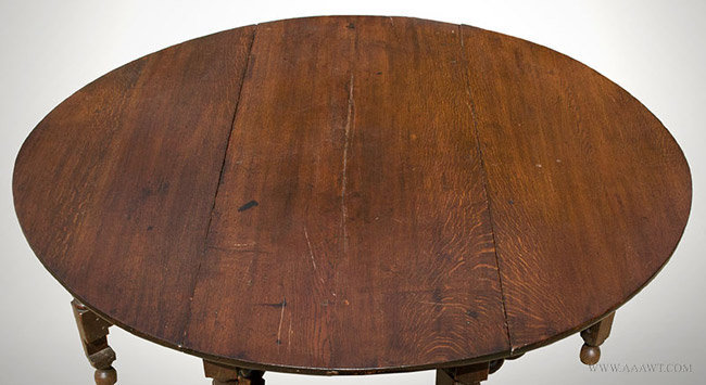 Antique Oak Gateleg Dining Table with Pierced Brackets, English, Circa 1680, top detail