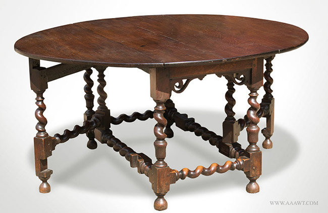Antique Oak Gateleg Dining Table With Pierced Brackets English Circa 1680 Open Angle