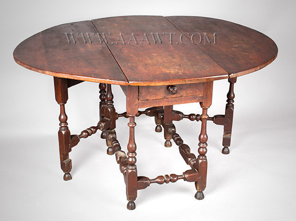 Antique Gateleg Table with Classic Turnings and in Original Red Surface, Circa 1710, open view