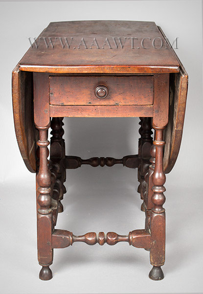 Antique Gateleg Table with Classic Turnings and in Original Red Surface, Circa 1710, end view