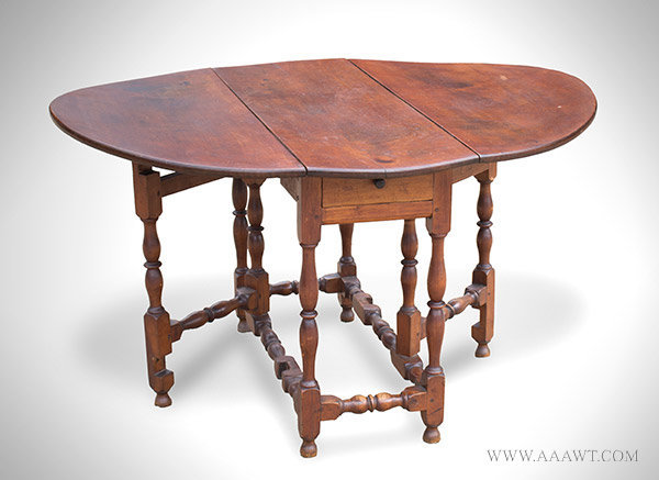 Gateleg Table, William and Mary, Curly Maple New England, Circa 1740, open view