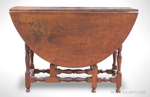 Gateleg Table, William and Mary, Curly Maple New England, Circa 1740, entire view
